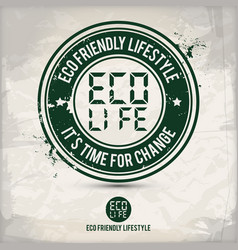 alternative eco lifestyle stamp vector image