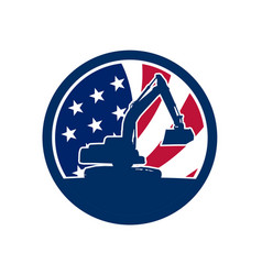 american excavator usa flag icon vector image
