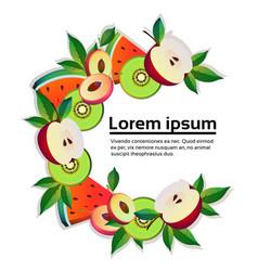 apple watermelon kiwi fruit colorful circle copy vector image
