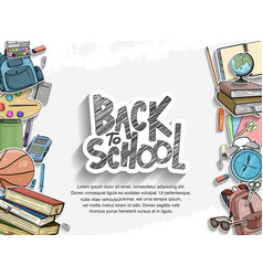 Back to school black text design with colorful vector