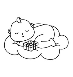 Basleeping on a cloud in black and white vector