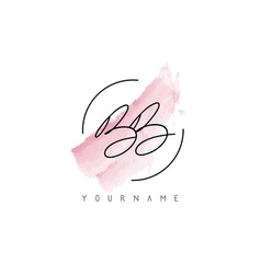 bb b letters logo with pastel watercolor vector image
