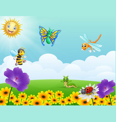 bees flying around the beehive in the garden vector image