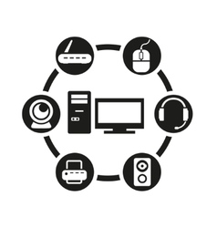 black computer icon set vector image