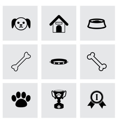 black dog icon set vector image