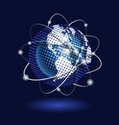 blue globe on a blue background vector image