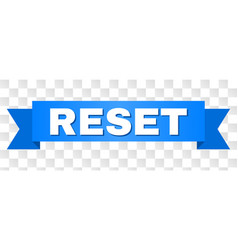 Blue ribbon with reset caption vector