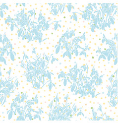 Botany realistic snowdrop spring pattern vector