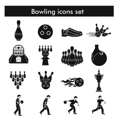 Bowling icon set in black simple style vector