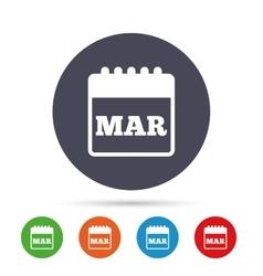 Calendar sign icon March month symbol vector