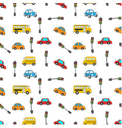 Car and traffic light vector