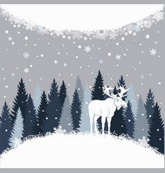 card with elk on the forest background and snow vector image