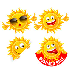 cheerful cartoon sun characters set vector image