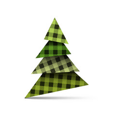 christmas tree from pieces of paper with plaid vector image
