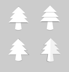 Christmas tree white paper with shadow vector