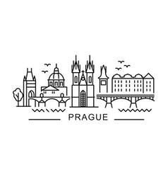 city prague in outline style on white vector image