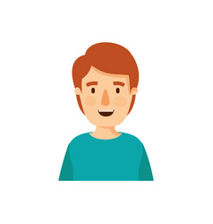 Colorful caricature half body young man with vector