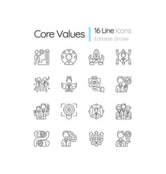 Core values linear icons set vector
