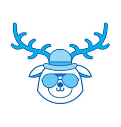 Cute blue icon vintage deer face cartoon vector