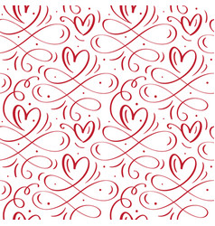 Cute calligraphy hearts seamless pattern vector