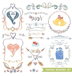Cute vintage floral setWedding iconsdoodle decor vector