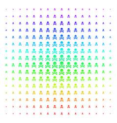 Death skull icon halftone spectrum grid vector