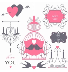 Decorative set of artistic valentins day elements vector