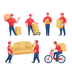 delivery service cartoon mail man and food vector image