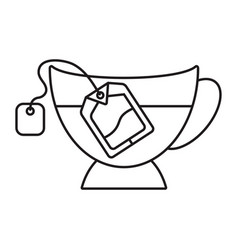 Dipping teabag tea bag in a glass - line art vector