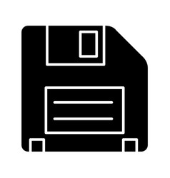 diskette icon black sign on vector image