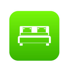 double bed icon digital green vector image
