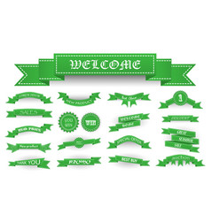 Embroidered soft green vintage ribbons and stumps vector