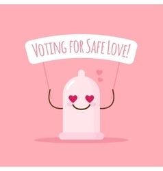 Emoji condom with poster about safe love vector