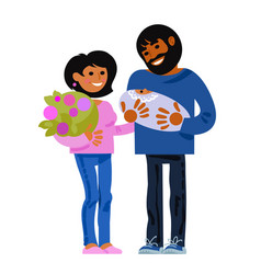 family happy young parents with new born baby vector image