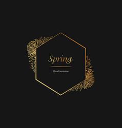 floral spring invitation golden frame luxury vector image