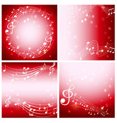 four red background with music notes vector image