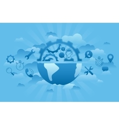 Global Service blue vector image