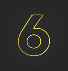 Gold glittering number 6g vector