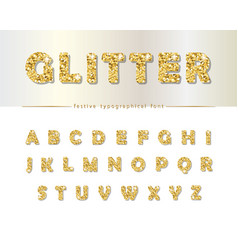 Golden glitter font isolated on white modern vector