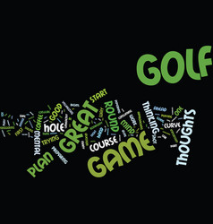 golf s mental game plan thoughts text background vector image