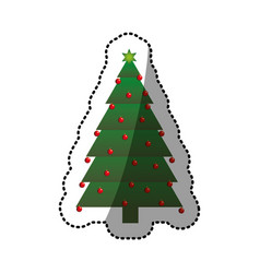 green christmas tree sticker with trunk and vector image