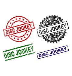 Grunge textured disc jockey stamp seals vector
