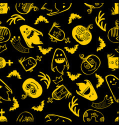 halloween emotions pattern vector image