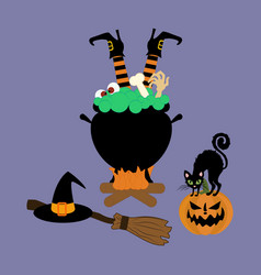 Halloween witch cauldron vector