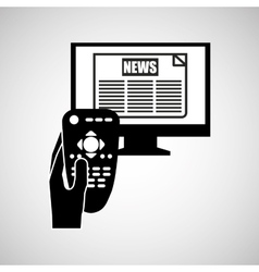 Hand control tv news icon design vector