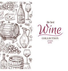 hand drawn wine background wine bottles wineglass vector image