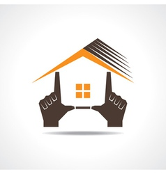 Hand make a home icon vector