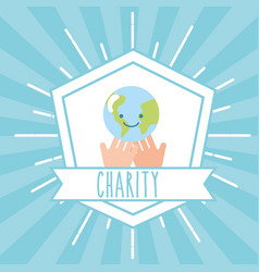 hands with kawaii world retro emblem charity vector image