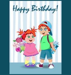 happy birthday greeting card of nice cartoon kids vector image