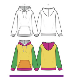 hoodie fashion flat technical drawing tem vector image